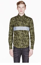 BAND OF OUTSIDERS SSENSE EXCLUSIVE Green camouflage PANEL STRIPE SHIRT for men