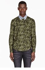 BAND OF OUTSIDERS SSENSE EXCLUSIVE green camouflage contrast-collar shirt for men