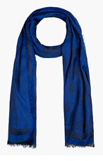 ALEXANDER MCQUEEN Blue & Black Skull Print Scarf for men