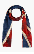 ALEXANDER MCQUEEN Navy & Red God Save McQueen Scarf for men