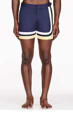 ORLEBAR BROWN Navy & yellow BULLDOG swim shorts for men