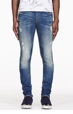 DIESEL BLUE RIPPED SLEENKER JEANS for men