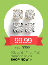 99.99 10k gold 1/4-ct. T.W. diamond studs. reg. $350. SHOP NOW