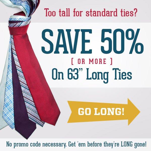 50% Off Long Ties