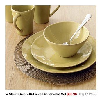 Marin Green 16-Piece Dinnerware Set $95.96  Reg. $119.95