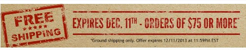 Free Shipping - Expires Dec. 11th - Orders of $75 or more