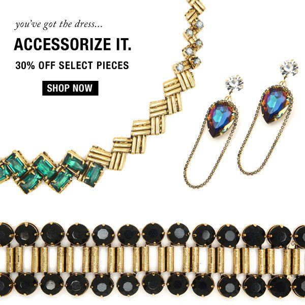 Accessories Sale. 30% off select styles.
