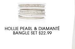 Hollie Pearl and Diamante Bangle Set