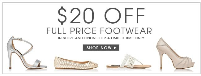 $20 off full price footwear. In store and online. Shop Now.