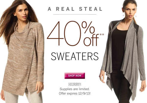 For a limited time all of Silkies sweaters are 40% Off.  Hurry!  Supplies are limited. Plus get free shipping with every purchase of $40 or more.