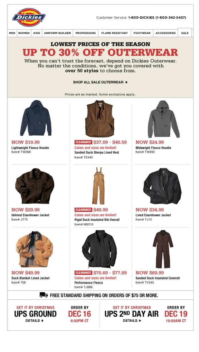 Up to 30% off 50 outerwear styles