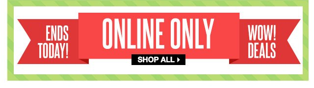 ENDS TODAY! ONLINE ONLY! WOW! DEALS. SHOP ALL