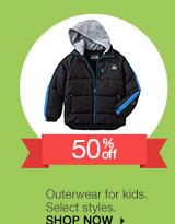 50% off Outerwear for kids. Select styles. SHOP NOW