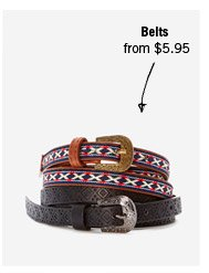 Belts from $5.95