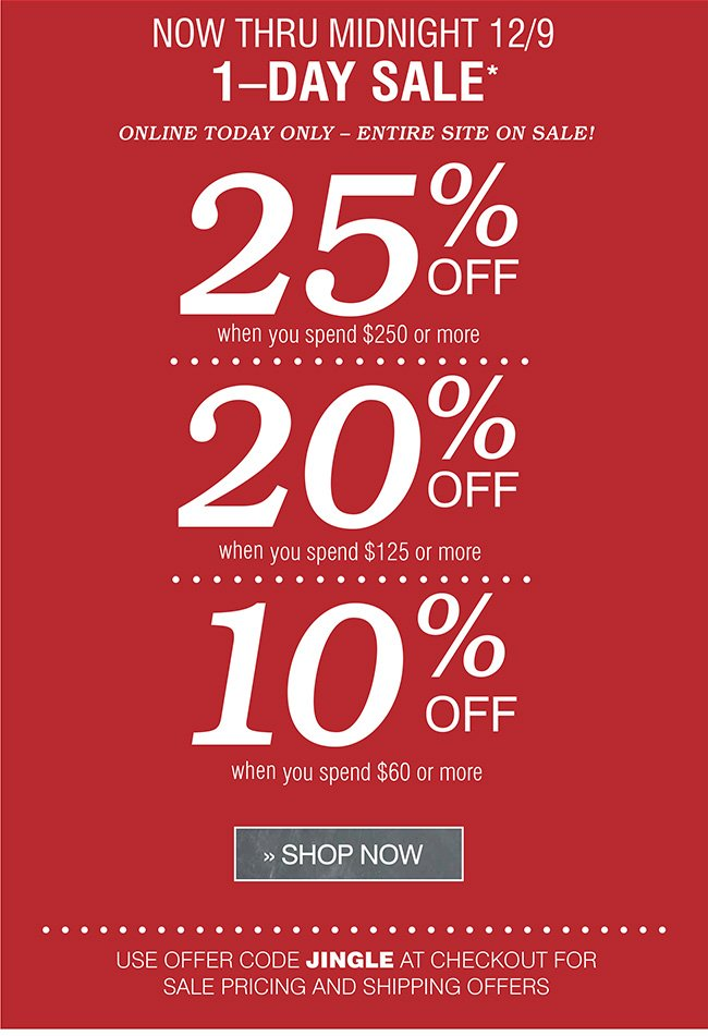 10% off $60+, 20% off $125+, 25% off $250+