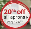 20% off all aprons