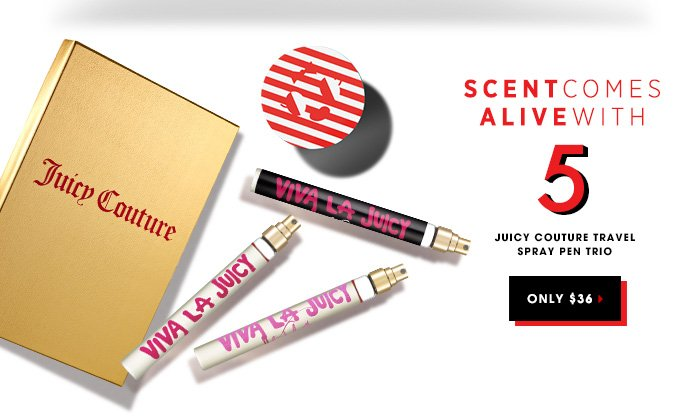 SCENT COMES ALIVE WITH 5: JUICY COUTURE Travel Spray Pen Trio. Only $36