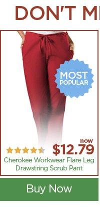 Cherokee Workwear Flare Leg Drawstring Scrub Pant - Buy Now