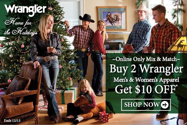 Buy 2 Wrangler Men's & Women's Apparel and Get $10 Off