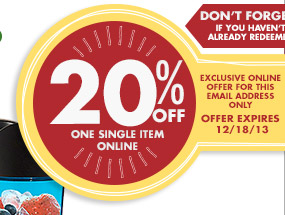 DON'T FORGET! IF YOU HAVEN'T ALREADY REDEEMED. EXCLUSIVE ONLINE OFFER FOR THIS EMAIL ADDRESS ONLY 20% OFF ONE SINGLE ITEM ONLINE OFFER EXPIRES 12/18/13