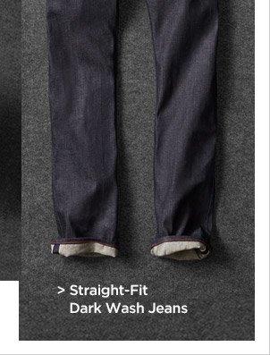 Straight-Fit Dark Wash Jeans