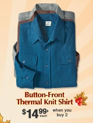 Button-Front Thermal Knit Shirt