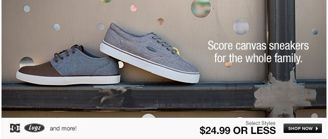 Score canvas sneakers for the whole family