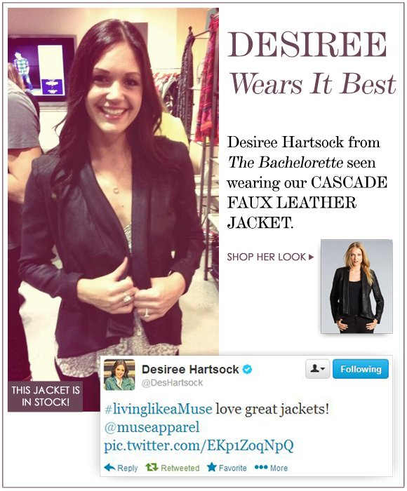 As seen on DESIREE HARTSOCK from The Bachelorette!