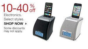 10-30% off Electronics. Select styles. SHOP NOW Some discounts may not apply.