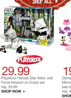 29.99 Playskool Heroes Star Wars Jedi Force Mission on Endor set. reg. 59.99 SHOP NOW