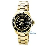 Invicta 8929C Men's Pro Diver Black Dial Gold Plated Steel Bracelet Automatic Dive Watch with Coin Edge Bezel
