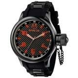Invicta 1973 Men's Signature Russian Diver Black Ion Plated Rubber Strap Black Dial Watch