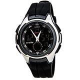 Casio AQ160W-1B Men's Classic Black Dial Black Rubber Strap Ana-Digi Sport Silver Tone Black Watch