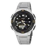 Casio AQS800WD-1E Men's Slim Tough Solar Black Dial Multi-Function Ana-Digi Stainless Steel Bracelet Watch