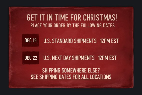 GET IN TIME FOR CHRISTMAS!