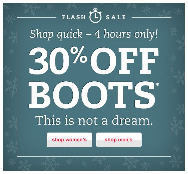 Flash Sale! Shop quick - 4 hours only! 30% OFF Boots.* This is not a dream.