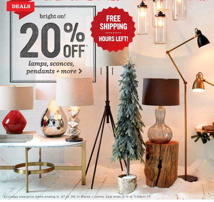 bright on! 20% off* lamps, sconces, pendants + more.