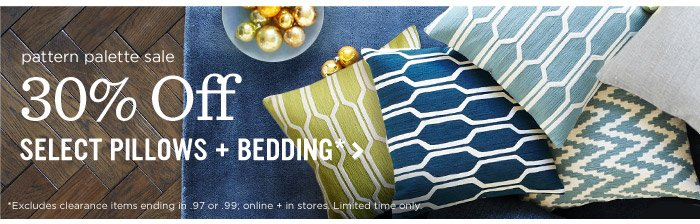 3 Days only! 30% off pillows*. Pile 'em on for as low as $13.