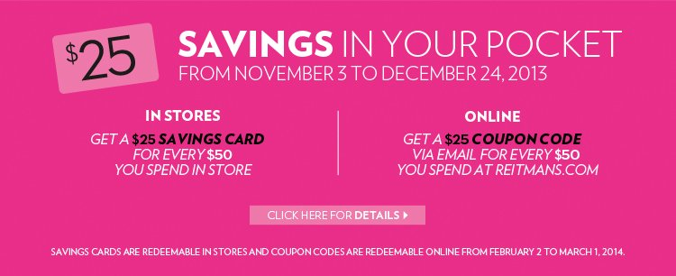 SAVINGS IN YOUR POCKET. FROM NOVEMBER 3 TO DECEMBER 24, 2013