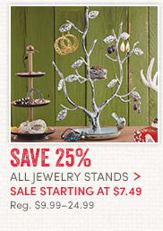 Jewelry stands sale starting at $7.49. Reg. $9.99-$24.99