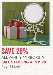 All Vanity mirrors sale at $31.99. Reg. $39.99