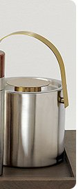 brushed stainless steel and brass ice  bucket 27.96 reg 34.95