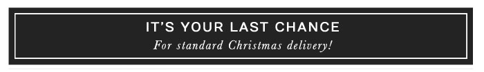 IT'S YOUR LAST CHANCE! For standard Christmas delivery!
