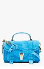 PROENZA SCHOULER Rip Tide Turquoise PS1 Tiny Lux Suede Satchel Bag for women