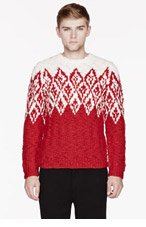 MONCLER Red & White patterned sweater for men