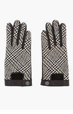 RAG & BONE Black & White Woven Chevron Leather Gloves for women