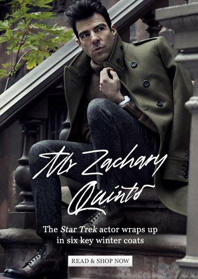 The Star Trek actor wraps up in six key winter coats. Read & shop now