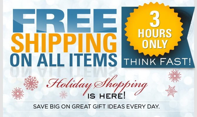 Free Shipping for 3 hours. Act Fast