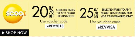 Scoot 20% off any destination