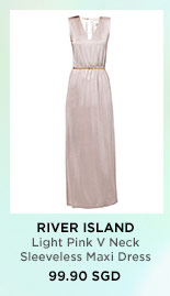 RIVER ISLAND Light Pink V Neck Sleeveless Maxi Dress